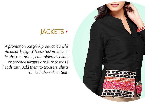 Printed, Brocade, Embroidered, Abstract Jackets & more. Buy Now!