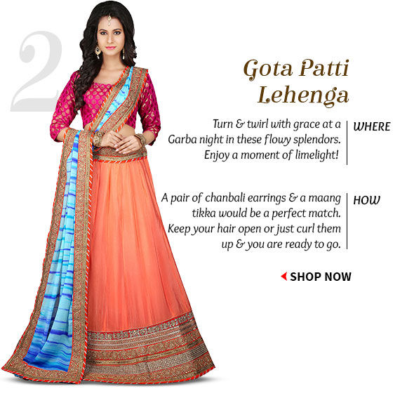 Choose from our stunning Collection of Gota Patti Lehengas. Shop Now!
