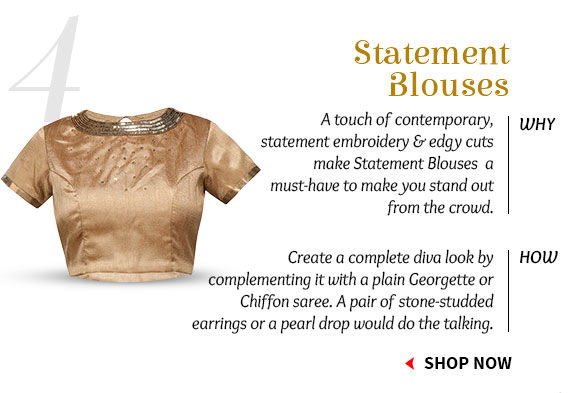 Pick your favorite from our inspiring Collection of Blouses. Buy Now!