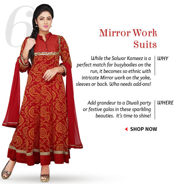 Select from our lovely Collection of Mirror Work Suits. But Now!