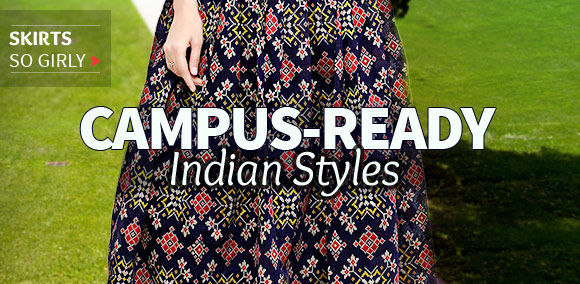 Smart Long Skirts with borders & Indian motifs for the Campus. Shop!