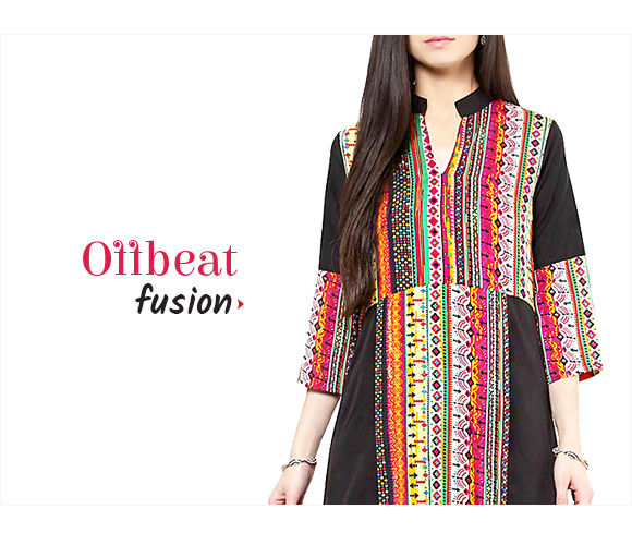Offbeat Fusion in Long Kurtas with Skirts, Harem Pants with Tops & more. Shop!