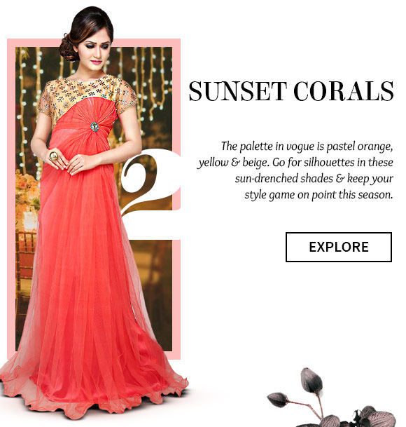 Choose from our wide range of Ensembles in Orange, Yellow & more sun-kissed hues. Buy Now!