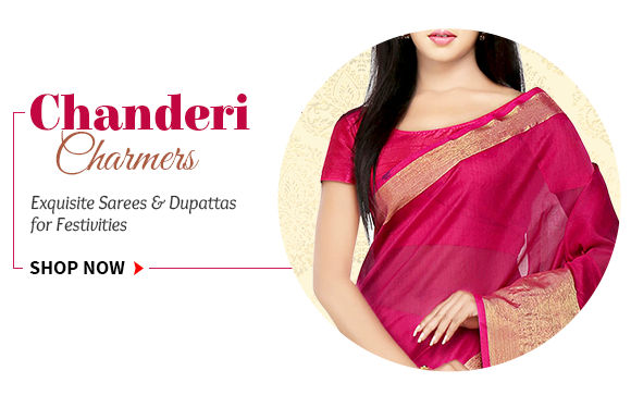 Sarees & Dupattas in Chanderi Silk with gold motifs for festive occasions. Shop!
