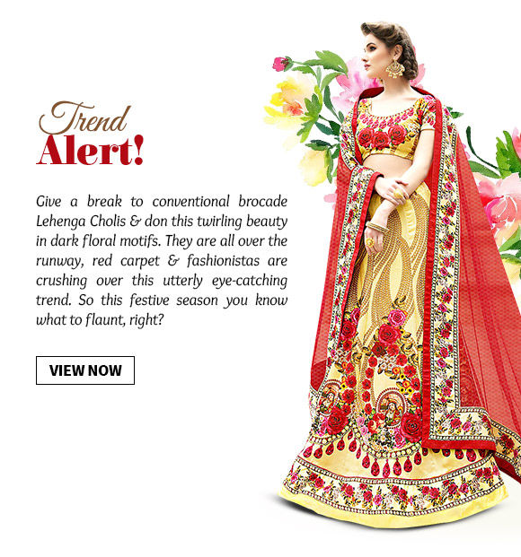 Choose from our stunning range of Lehenga Cholis in floral motifs. Buy Now!