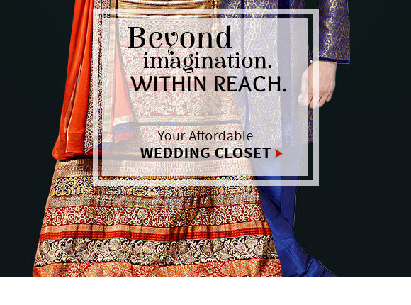 A budget wedding collection of Zari work Sarees, Stone work Anarkalis, Jewelry & more. Shop!