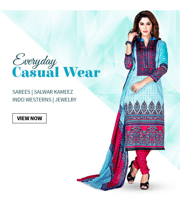 Casual Wardrobe of Printed Sarees, Straight Suits, Skirts, Earrings & more. Shop!