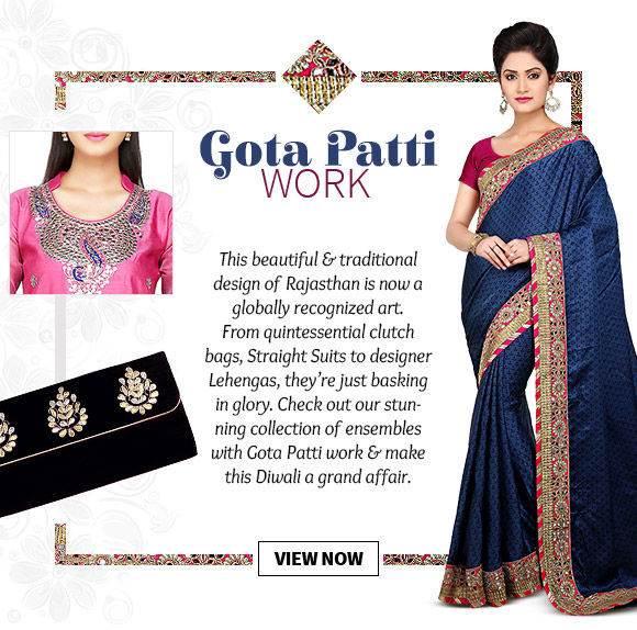 Choose from our wide range of Ensembles with Gota Patti work. Buy Now!
