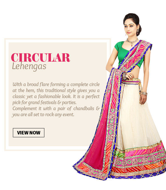 Choose from our wide range of beautiful Circular Lehengas. Buy Now!