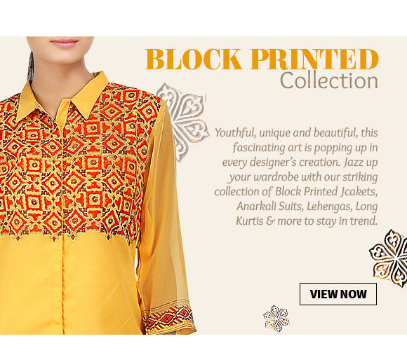 Choose from our beautiful array of Block printed Ensembles. Buy Now!
