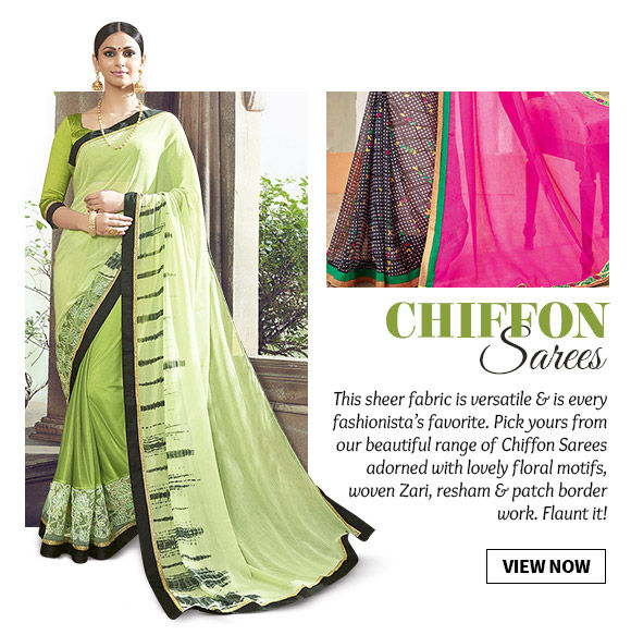 Select from our striking range of Chiffon Sarees. Buy Now!
