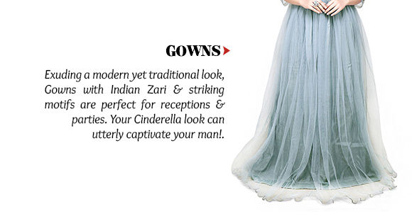 A myriad of beautiful Gowns in attractive hues. Buy Now!