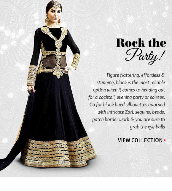 Black Embroidered Sarees, Indo Western, Lehengas, Jackets & more. Buy Now!