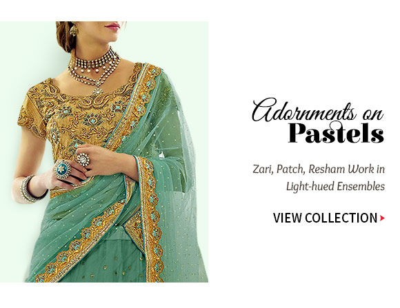 Zari, Patch, Resham Work Ensembles in Pastel shades on Sheer fabrics. Shop!