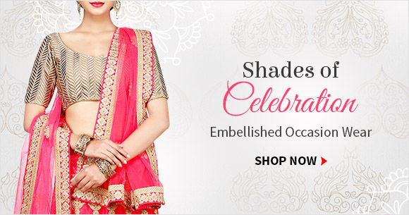 Shop sarees and Lehengas in Bright hues and Zari, Patch and stone work for this festive season.