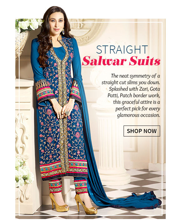 Choose from our wide range of stunning Straight Salwar Suits. Buy Now!