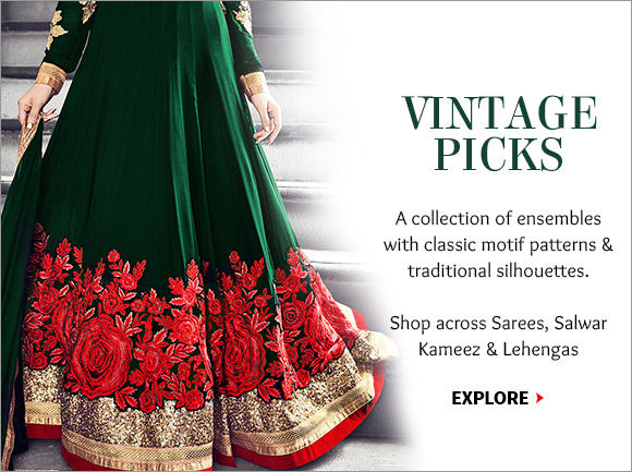 The Vintage Collection includes Abaya Style Suits, Sarees, Lehengas, Sherwani splashed with Zari, Resham, Indian motifs & more. Buy Now!