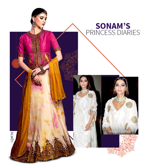 Designer Lehengas in Georgette and Art Silk with golden work. Shop!