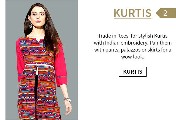 Attractive range of Long & Short Kurtas in bright colors & delicate work. Shop!
