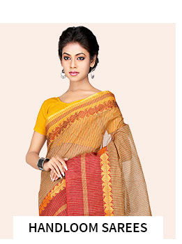 Handloom Sarees in pretty shades. Shop!