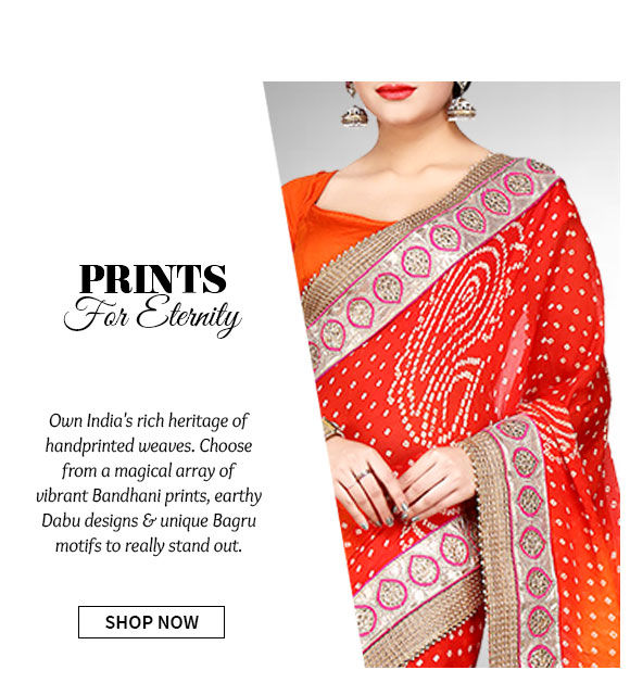Heritage Print Collection of Bandhani, Dabu & Bagru Prints in ethnic ensembles & fusion wear. Shop Now!