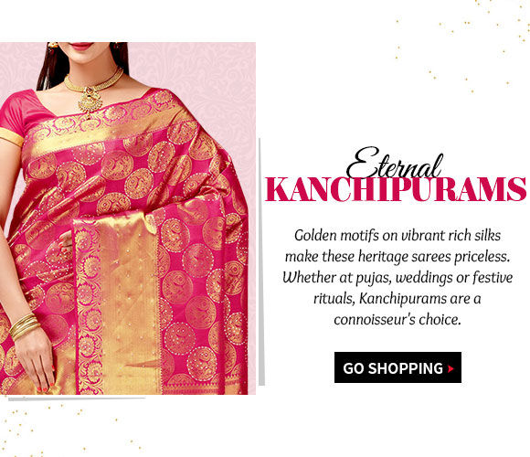 Beautiful Kanchipuram Silk Sarees with elaborate borders & pallus for festive occasions. Shop!