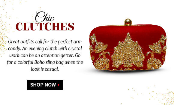 Embellished clutch, potlis, casual sling bags & more to match the formal or informal look. Shop!