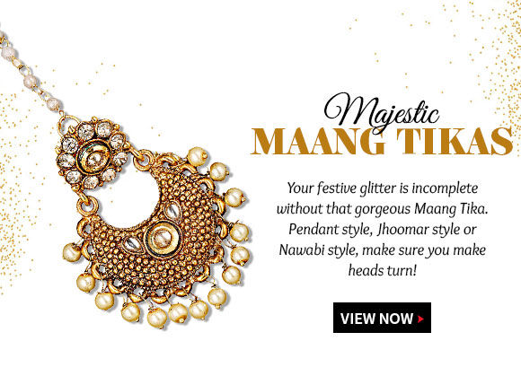 A range of Maang Tikas with stones, beads & kundan to match the festive attire. Shop!