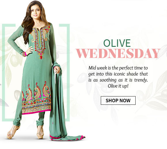 Sarees, Salwar Kameez, Fusion wear & add-ons in shades of Olive Green. Shop Now!