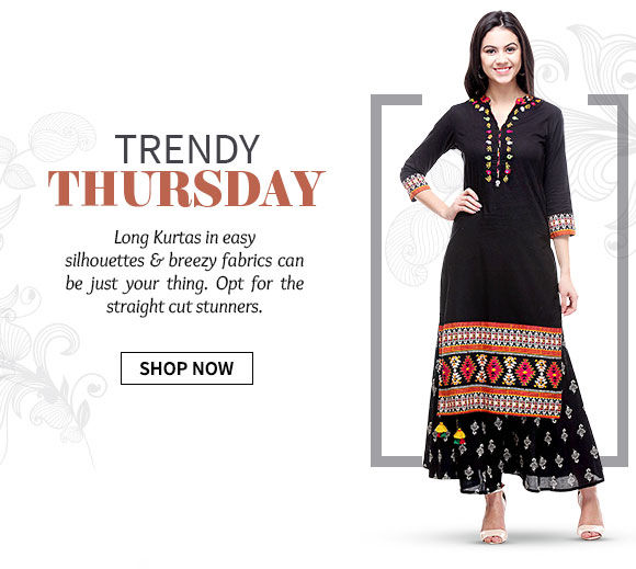 Long Kurtas in cotton, georgette & chiffon with prints or monotones. Shop Now!