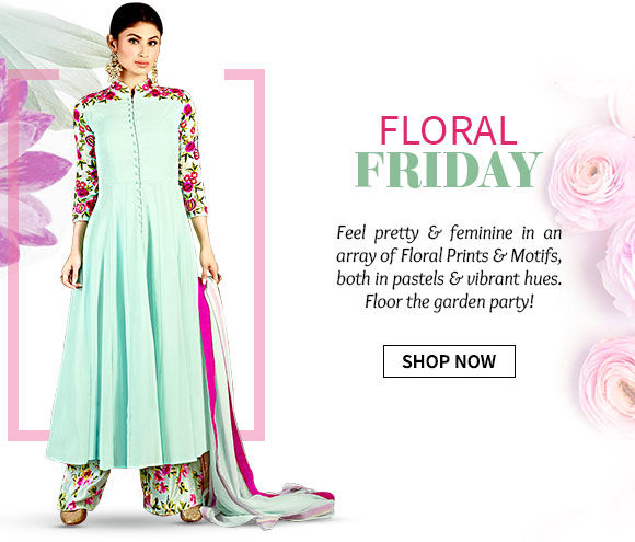 Collection of Floral prints & motifs in range of ethnic ensembles. Shop Now!