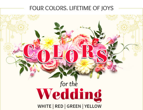 Auspicious hues for Weddings: White, Red, Green, Yellow Ensembles. Shop Now!