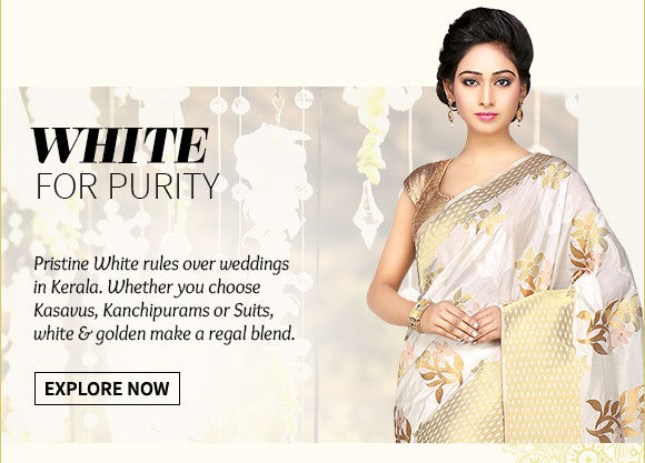 White Bridal Ensembles in Kerala Kasavus, Kanchipuram Silks, Lehengas, Zari work Suits. Shop Now!