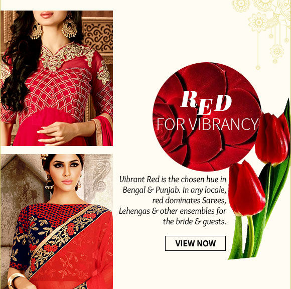 Red Bridal Ensembles in Banarasi Silk, Georgette Sarees, A-line Lehengas & more. Shop Now!