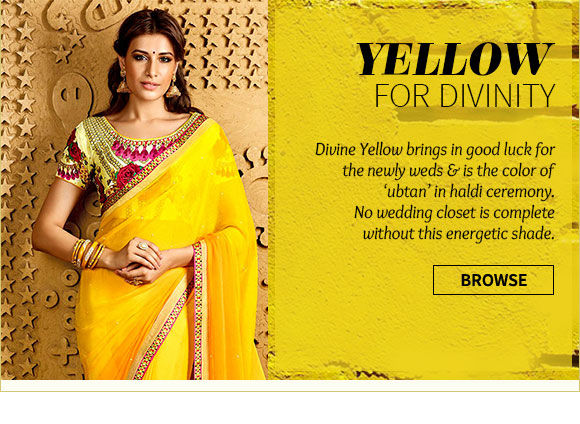 Yellow Bridal Ensembles in Stone work Sarees, Patch work Anarkalis, A-line Lehengas & more. Shop Now!
