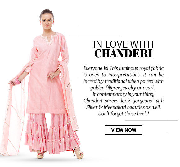 Straight Cut. A-line  Suits, Sarees & more in Chanderi fabric. Buy Now!