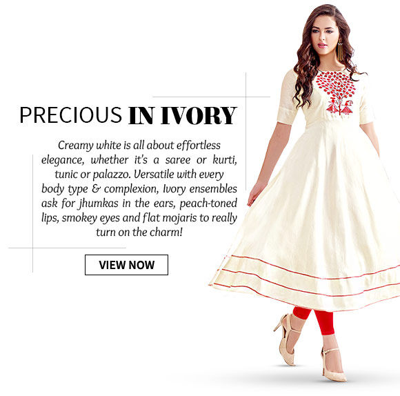 Take a look at our vast range of Kurtis, Tunics, Palazzos & more in ivory hue. Shop Now!