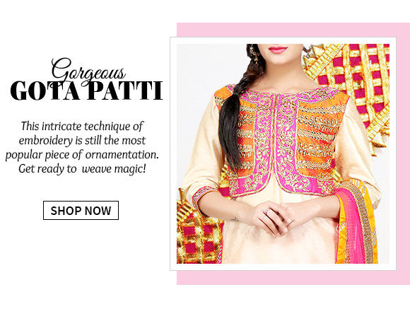 A captivating range of ensembles with gota patti work. Buy Now!