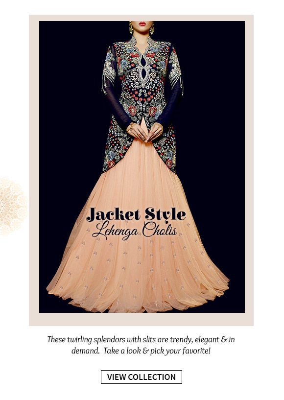 Select from our inspiring collection of Jacket Style Lehenga Cholis. Buy Now!