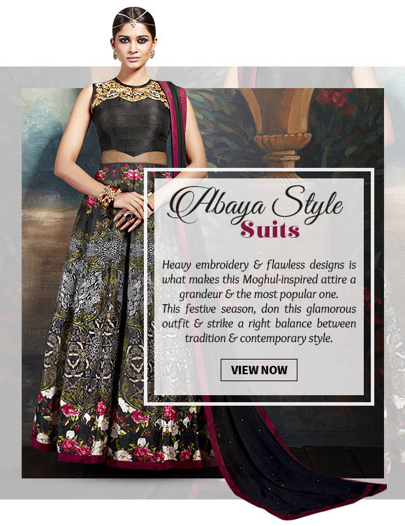 Choose from our stunning range of Abaya Style Suits ion attractive hues & designs. Buy Now!
