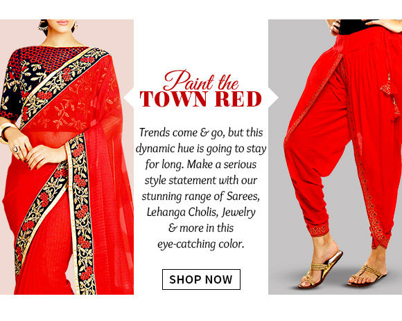 Choose from our striking range of Ensembles in Red. Buy Now!