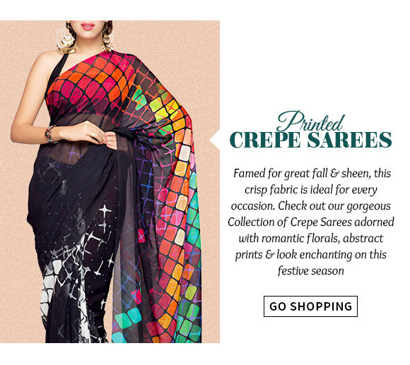 Select from our lovely range of Printed Crepe Sarees. Buy Now!