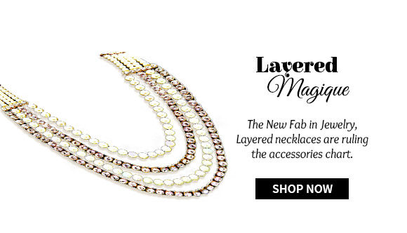 Range of layered necklaces in metal, beads , stones and more. Shop Now!