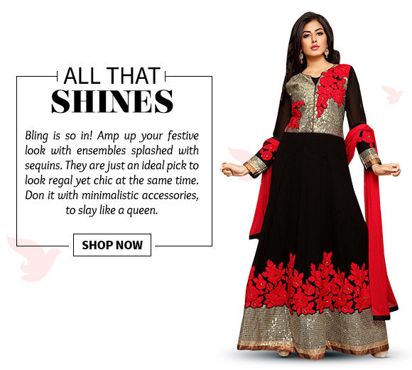 Choose from our wide range of ensembles adorned with sequins. Buy Now!