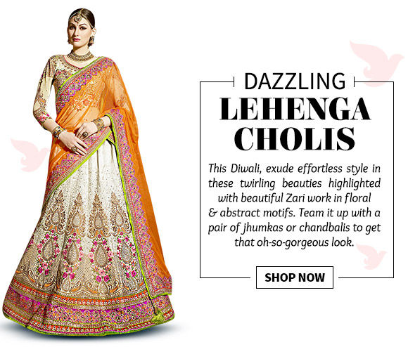Choose from our beautiful Collection of Lehenga Cholis with Zari work. Buy Now!