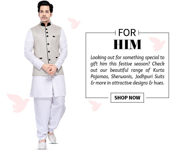 A myriad of Kurta Pyjamas, Sherwanis, Jodhpuri Suits & more. Buy Now!