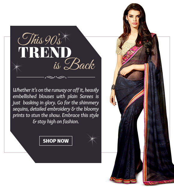 Explore a wide range of heavily embellished blouses with plain drapes. Buy Now!