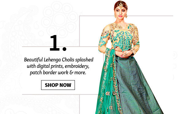 Pick yours from our stunning range of Lehenga Cholis. Buy Now!