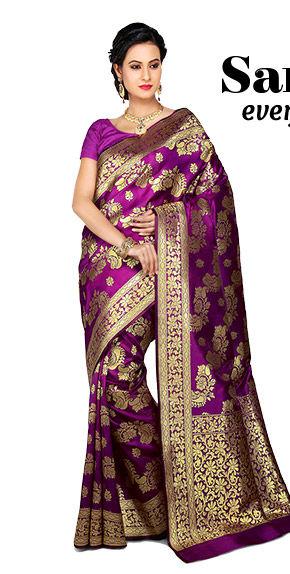 Must-have Sarees: Net, Banarasi, Half n Half & Digital Print for various events. Shop Now!