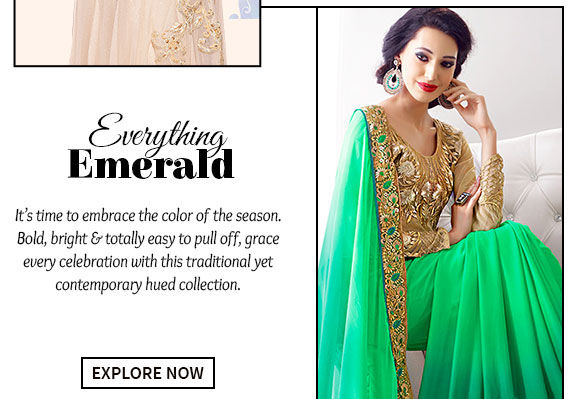 Choose from a wide range of gorgeous Sarees, Abaya Style Suits, Lehenga Cholis & more in Emerald Green. Buy Now!